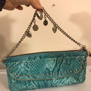 Kathy Van Zeeland Satchel Bag in Blue Snakeskin